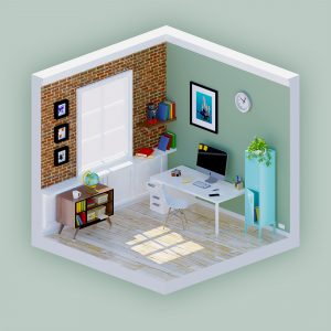 Workspace isometric 3D view